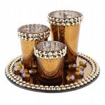 Copper and Gold Set Of 3 Glass T Light Holders On Mirrored Copper Tray - Christmas Candle Holders